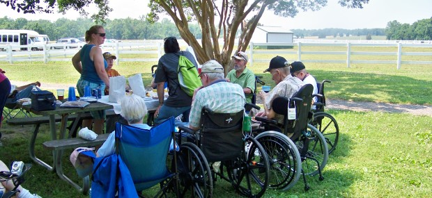 Veterans from the Charlotte Hall Vets Home enjoy lunch at Greenwell.