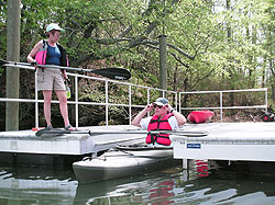 Getting ready to depart from the accessible kayak launch